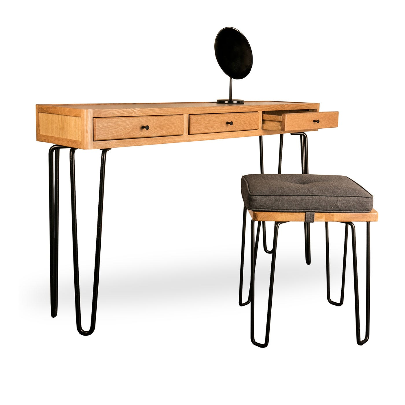 Brunel Stool with Brunel Stool Cushion Smoke Grey Fabric and Brunel Console Table