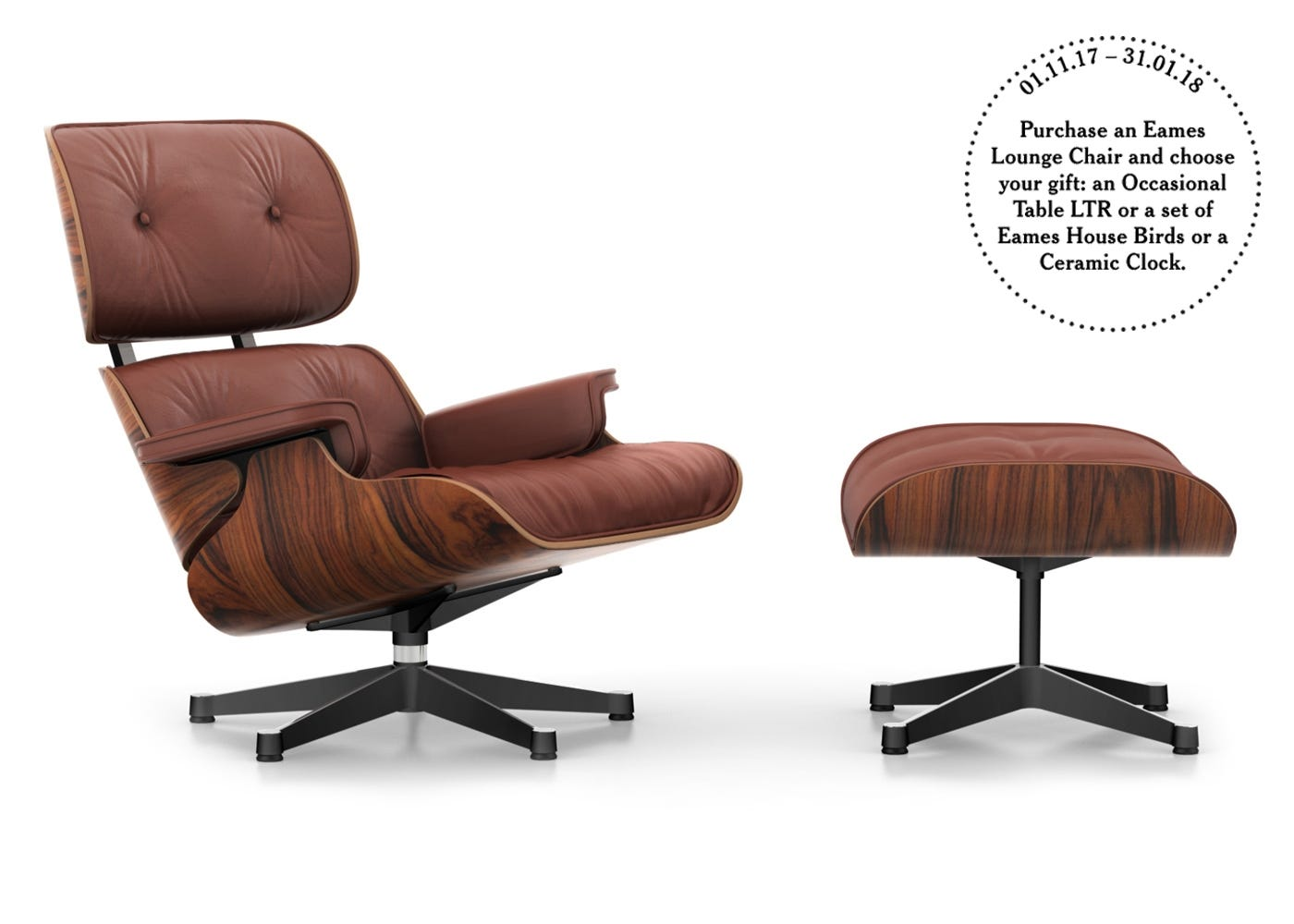 Eames Lounge Chair and Ottoman Brandy Leather Santos Palisander  Black/Polished Base - Classic