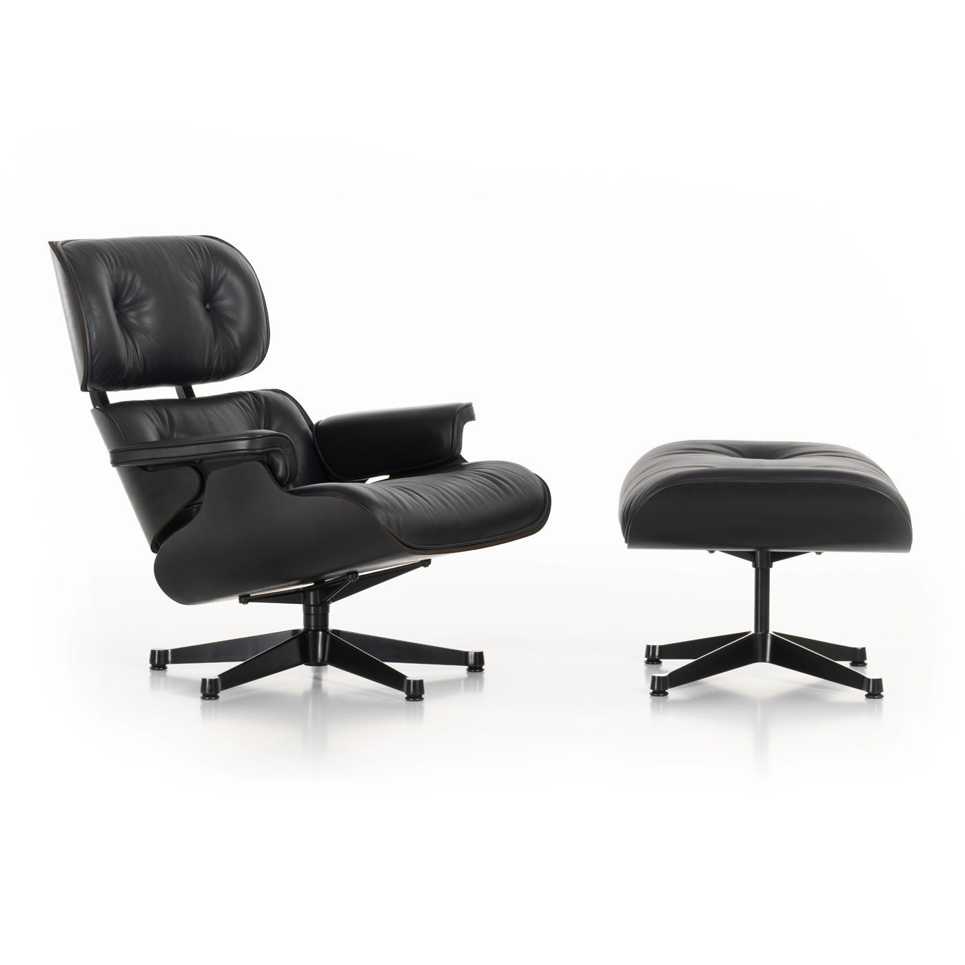 Eames Lounge Chair and Ottoman Nero Leather Premium Black Ash Wood Black Base - New Dimensions