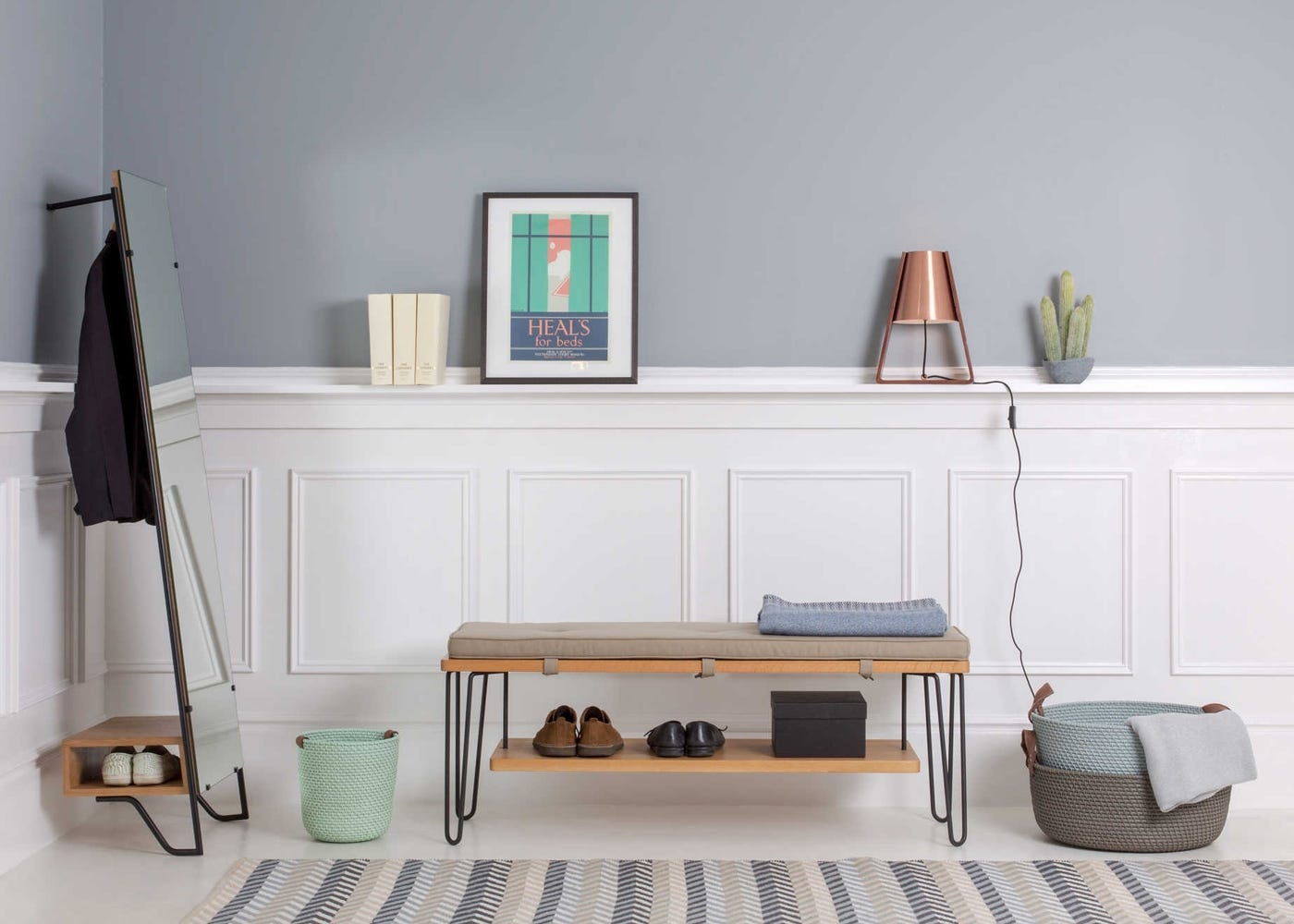 Brunel Bench with additional shelf and cushion shown as hallway storage