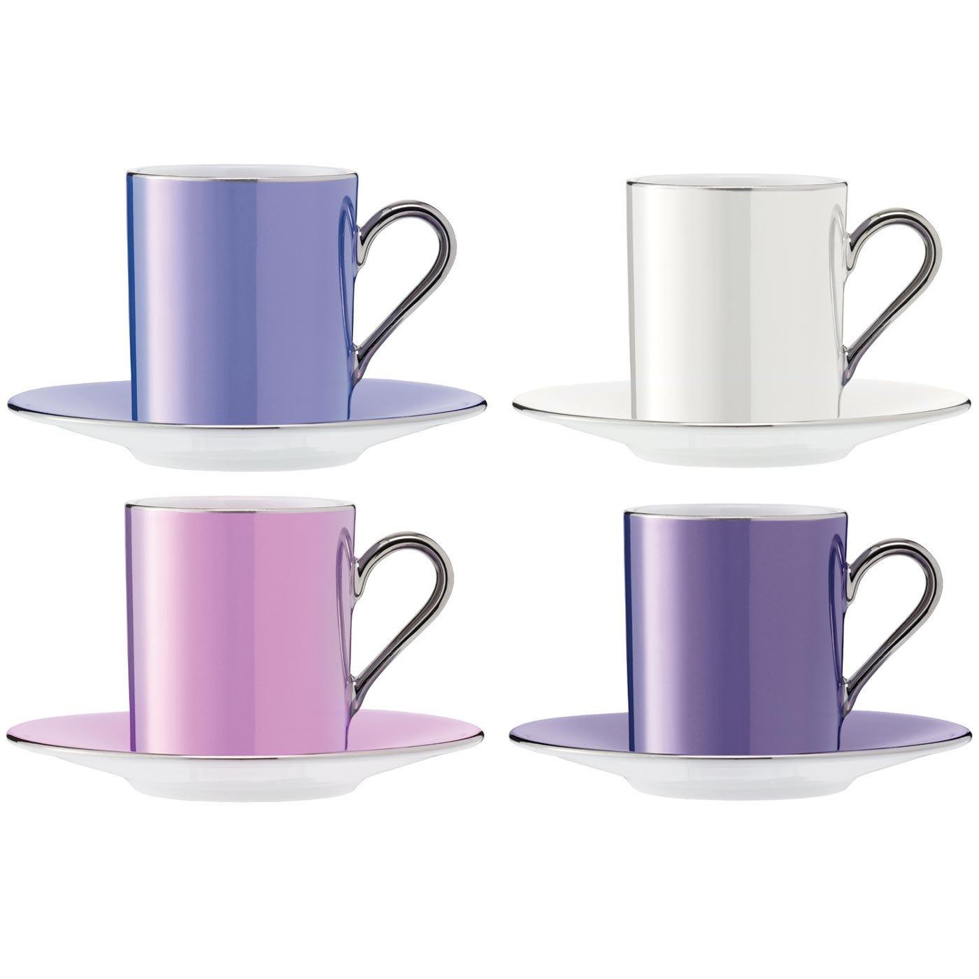 LSA International Polka Coffee Cup & Saucer Set Of 4