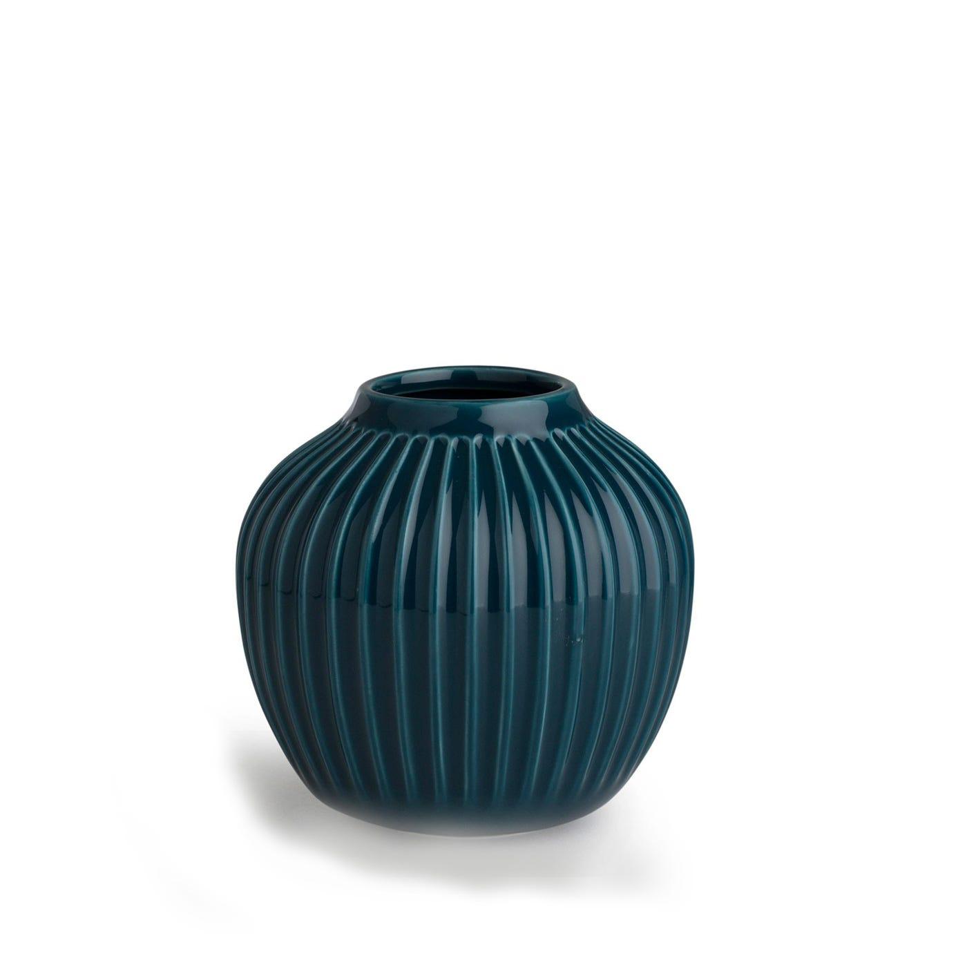 Hammershoi Ridged Vase Small Blue