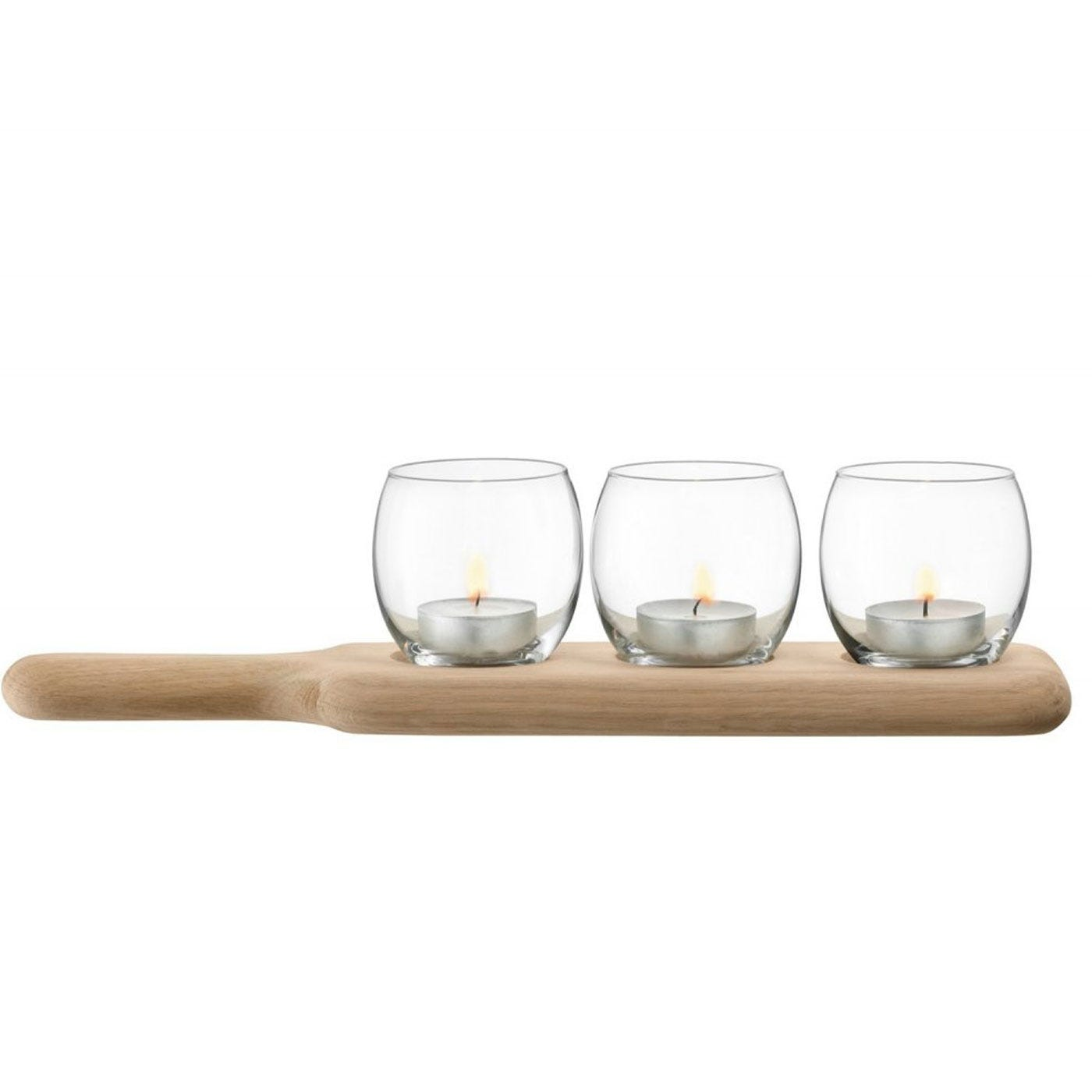 Paddle Tealight Holder Set Clear Small