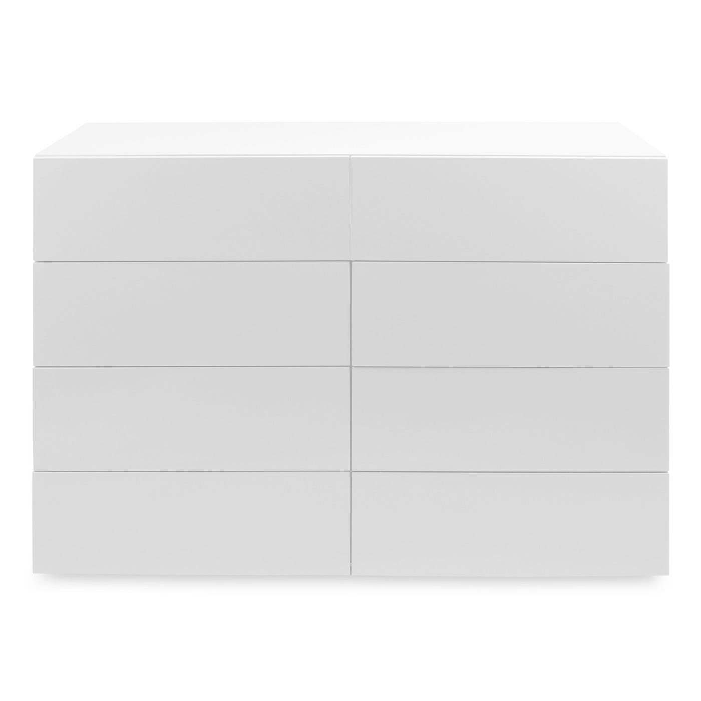 Space 8 Draw Wide Chest,White Gloss Lacquer