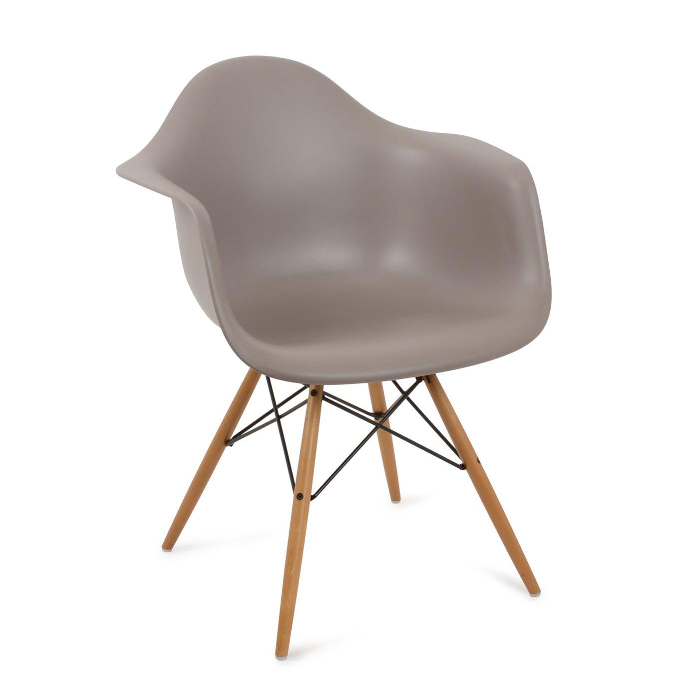 Eames DAW Armchair New Height Mauve Grey Light Maple Legs