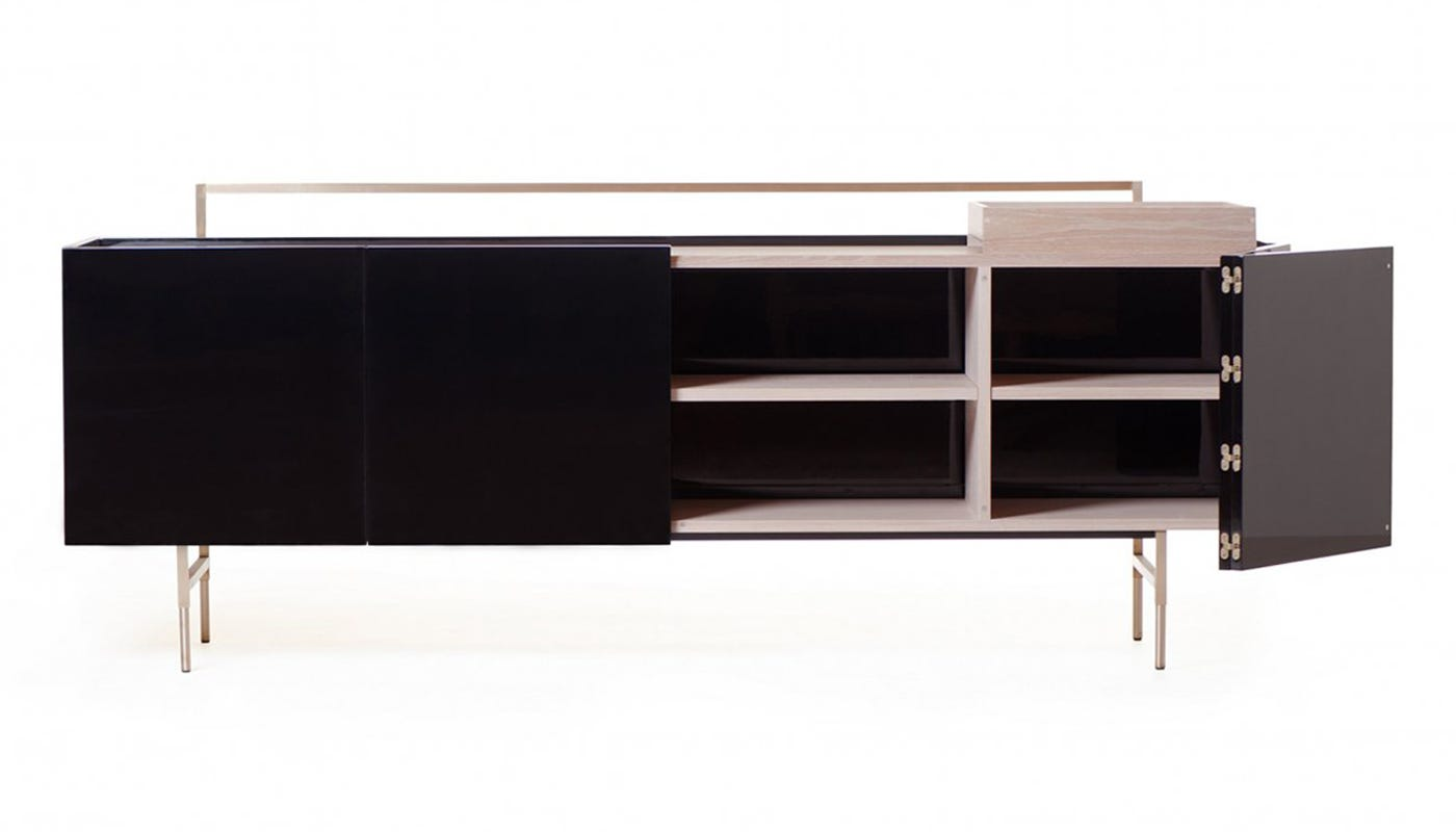 trunk low cabinet black lacquer white oiled oak