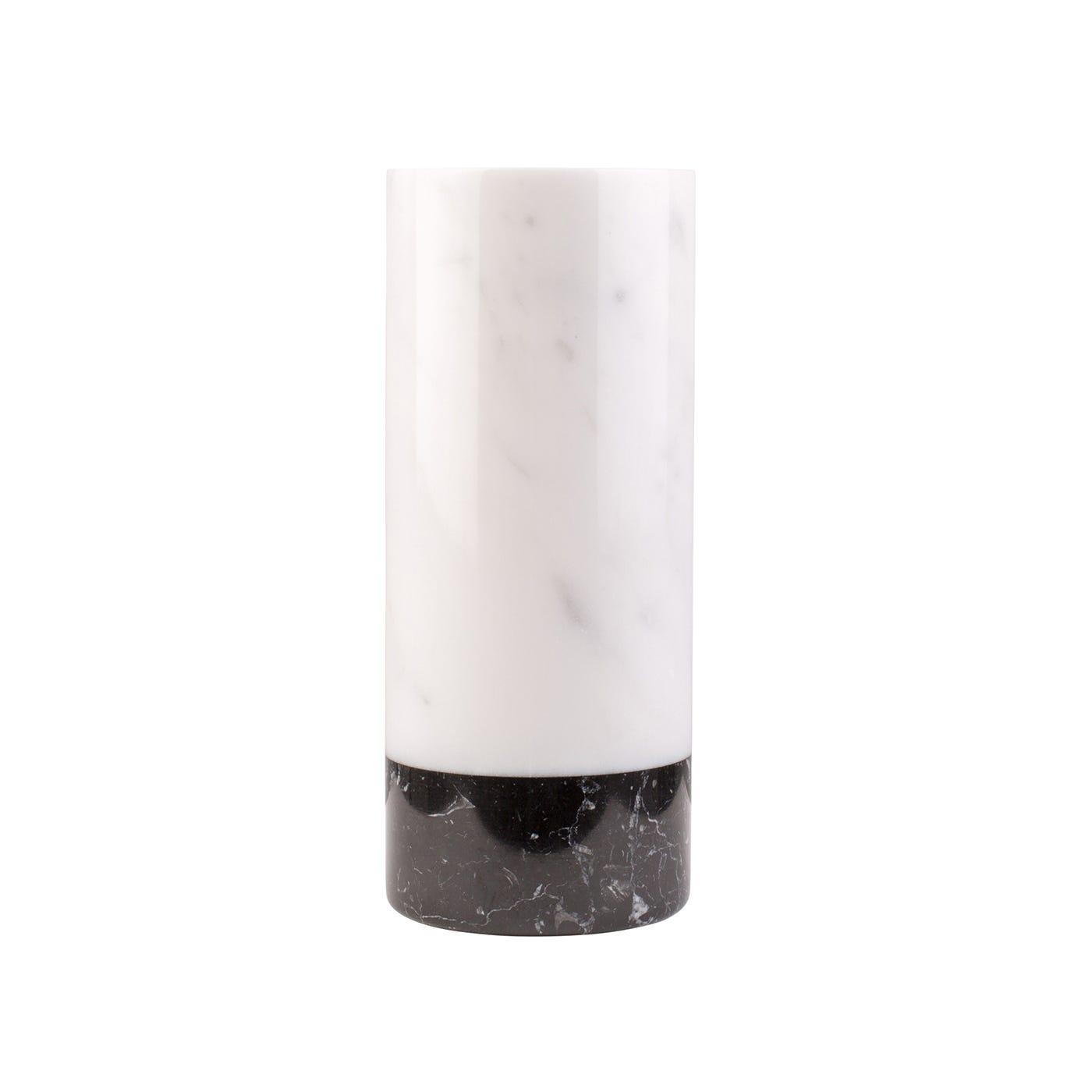 Cylindrical Vase Mixed Carrara Marble