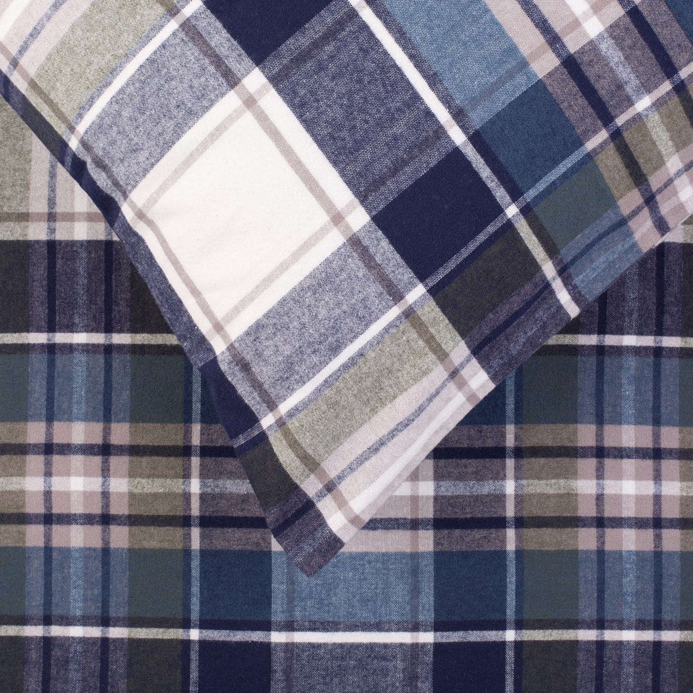 Brushed Cotton Flannel Check Super King Duvet Cover Discontinued