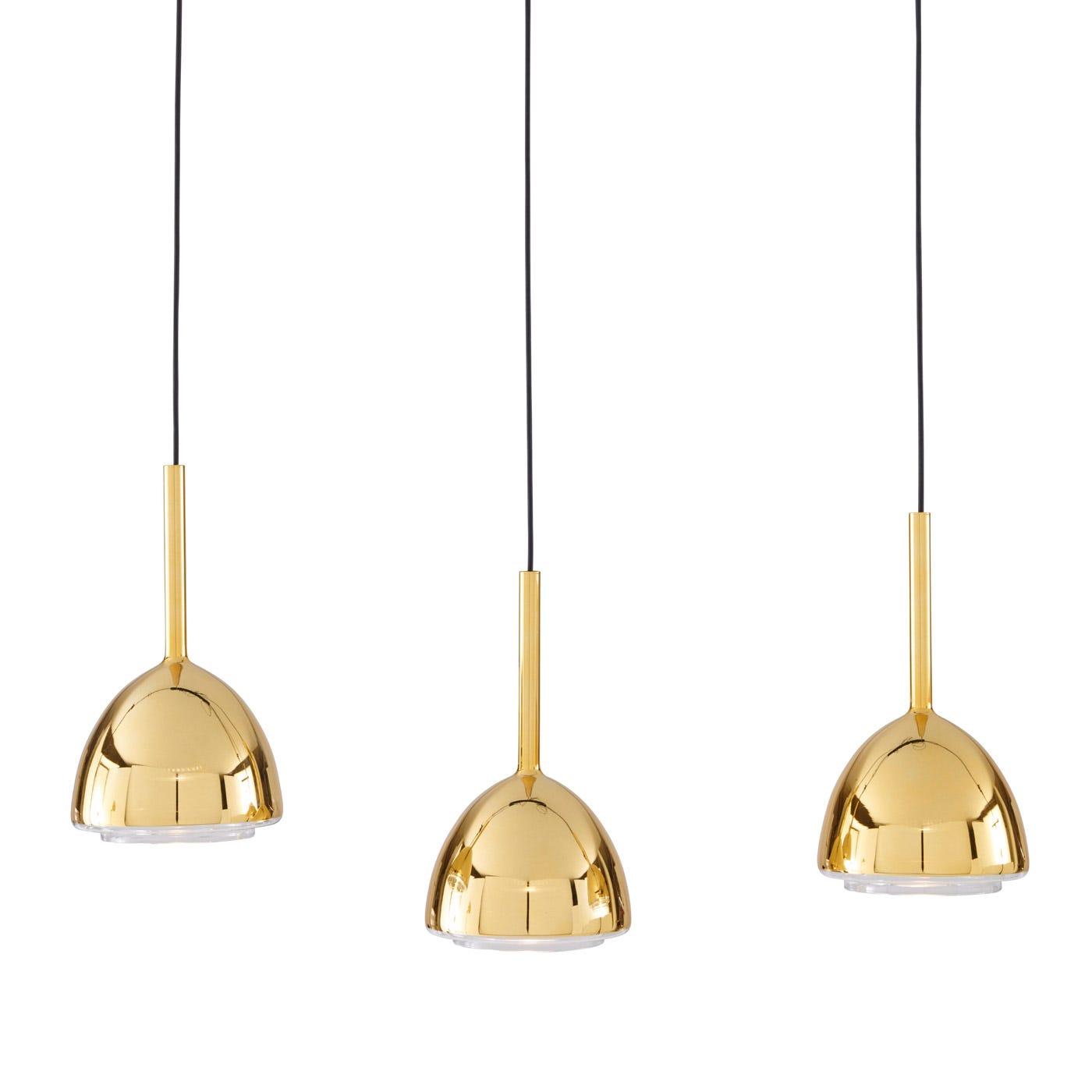 Brass Bell Set of 3 Hanging Light
