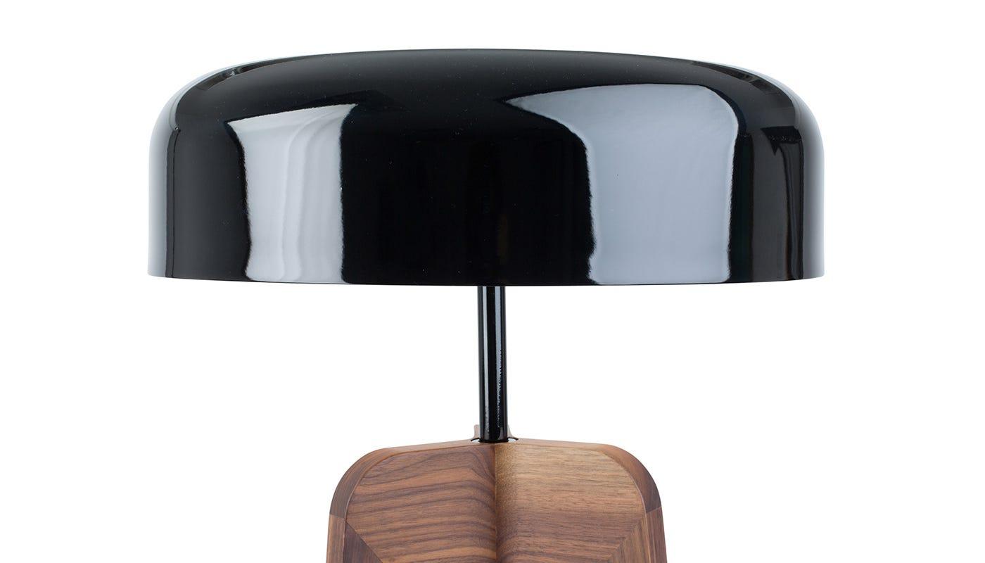 Porada Pileo Alta Floor Lamp Walnut/ shiny black shade | HEAL\'S