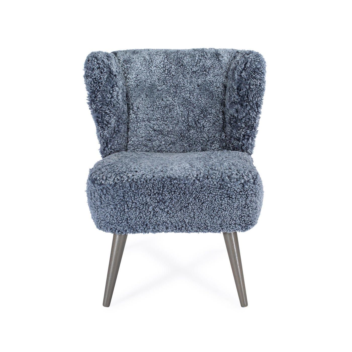 Ziggy Chair Blue Grey Sheepskin Pale Grey Legs