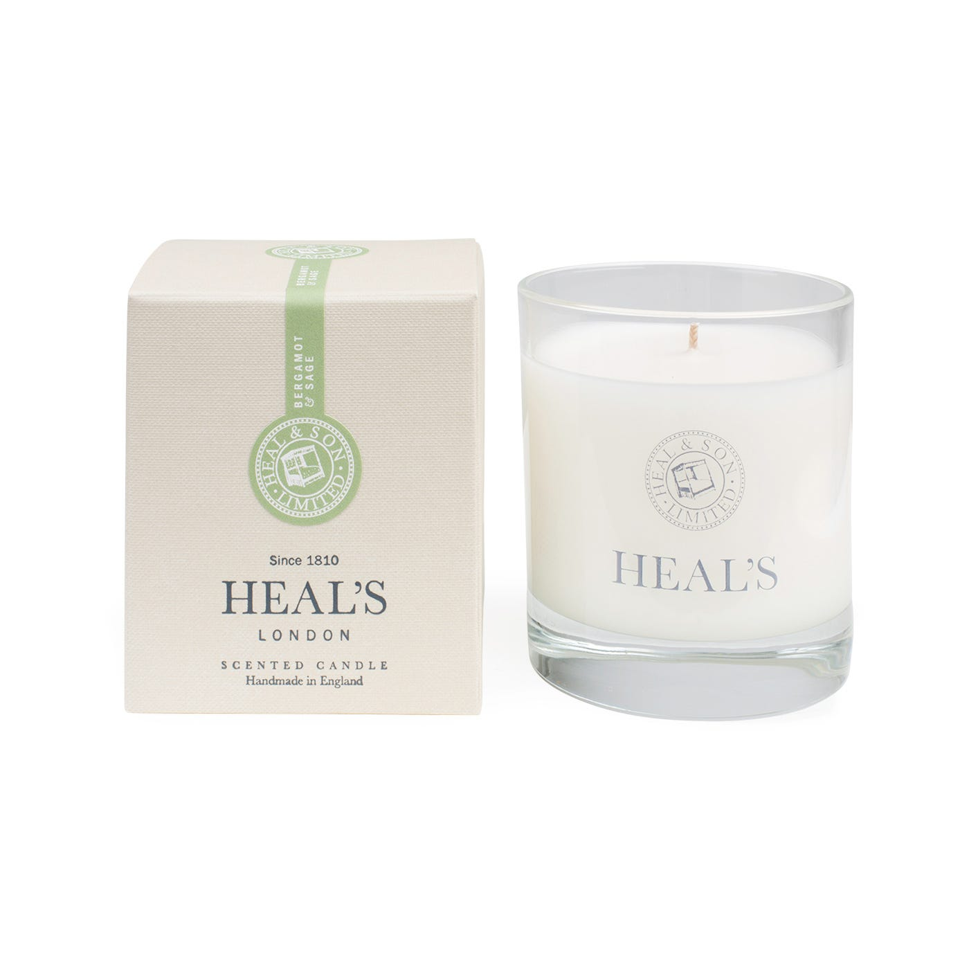 Bergamot & Sage Scented Glass Candle