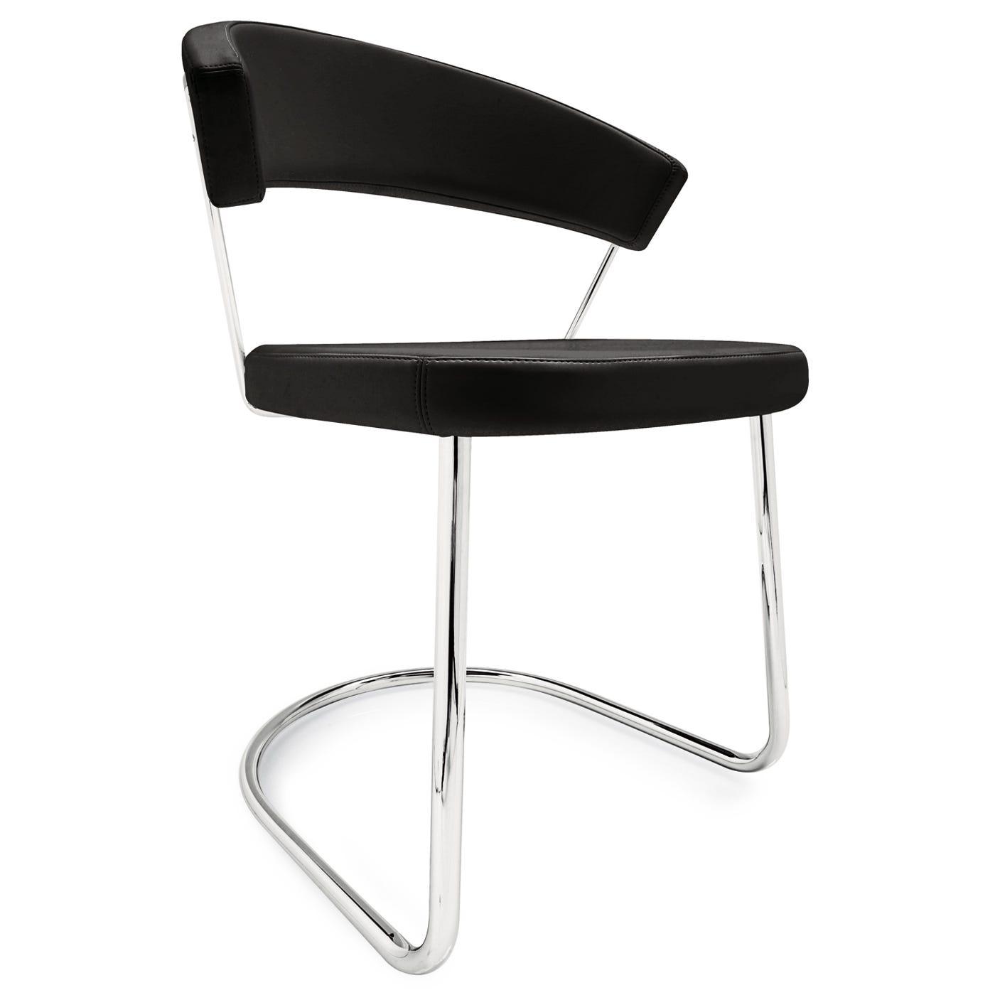 New York Leather Chair Sleigh Legs