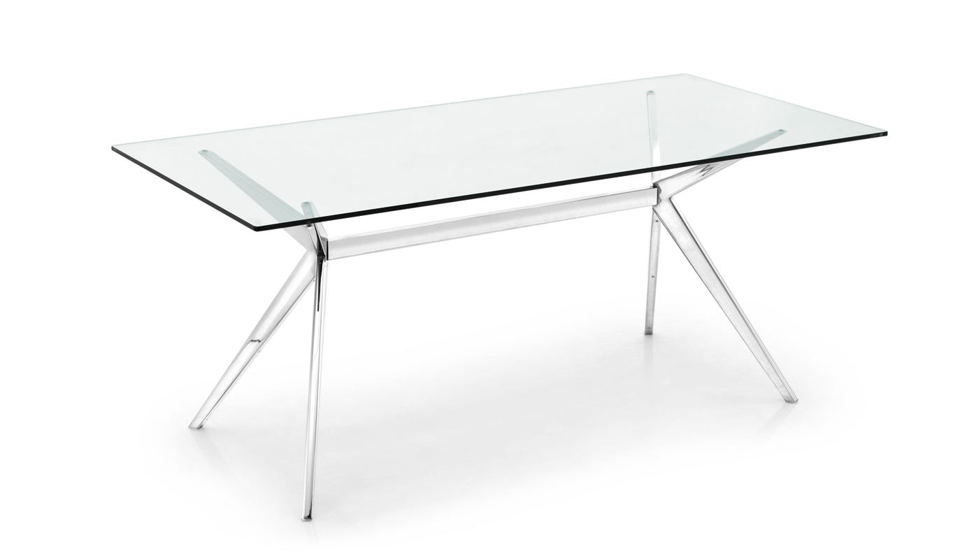 seven dining table chrome  glass  dining tables  dining room  - seven dining table chrome  glass