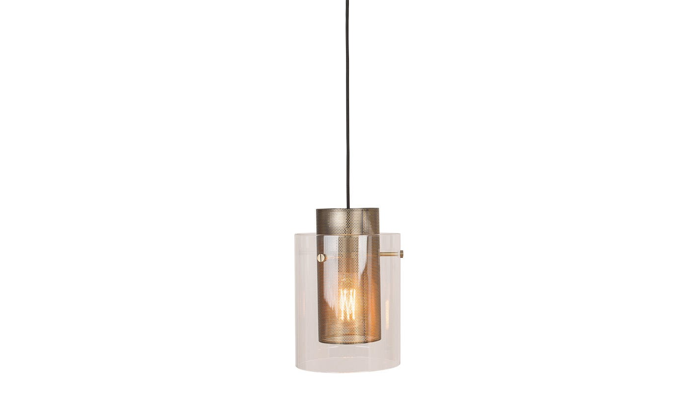 Cora Pendant Clear Glass Antique Brass Shade