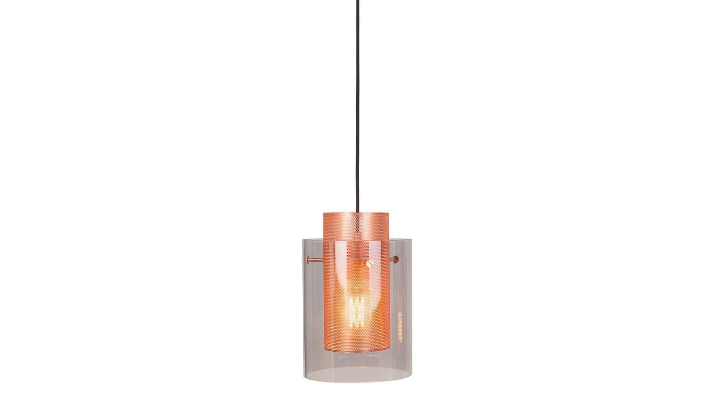 Cora Pendant Smoke Glass Brushed U0026 Brushed Copper Shade ...