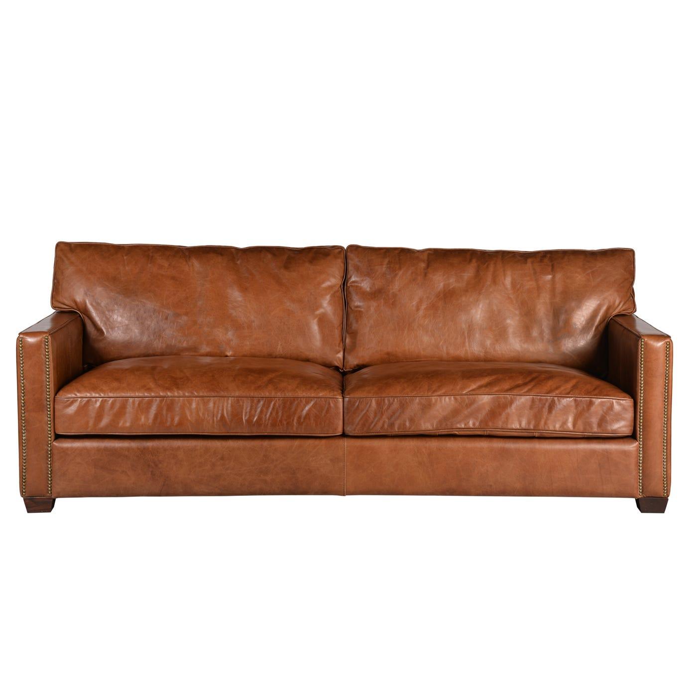 Viscount William 3 Seater Sofa Old Saddle Leather Nut