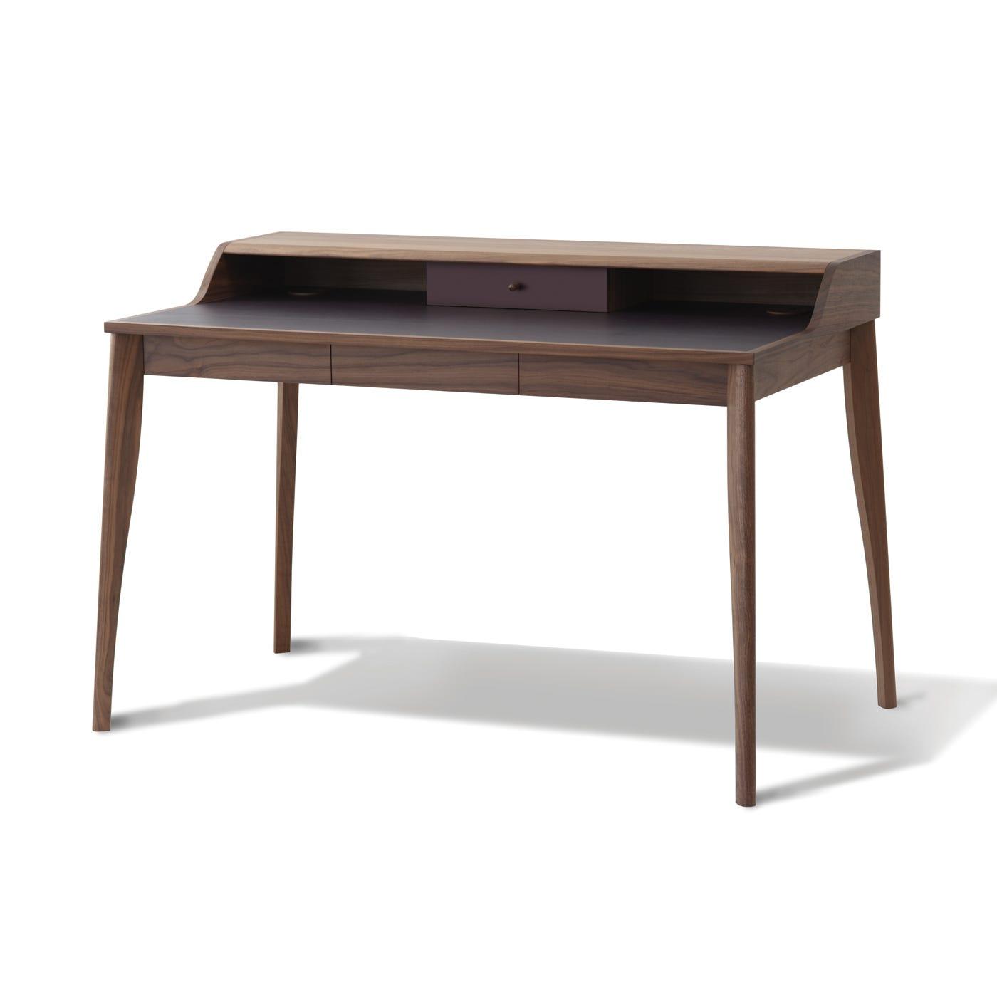 Yves Desk Walnut & Aubergine Leather