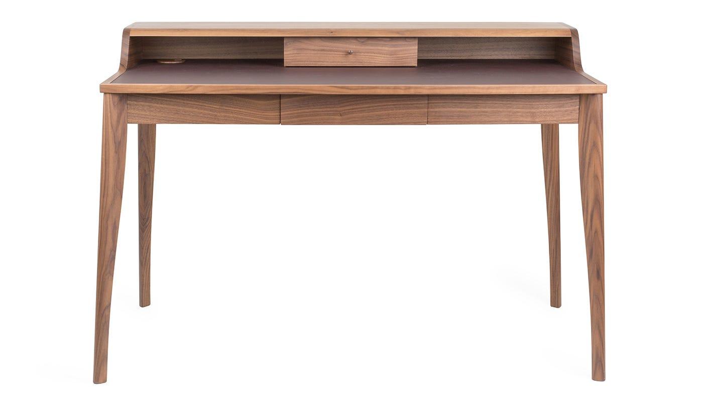 Pinch yves desk walnut aubergine leather 2006 finalist for Schreibtisch yves pinch