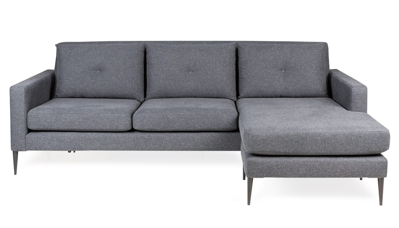 Brunel Corner Chaise in Murcia Grey Right Hand Position