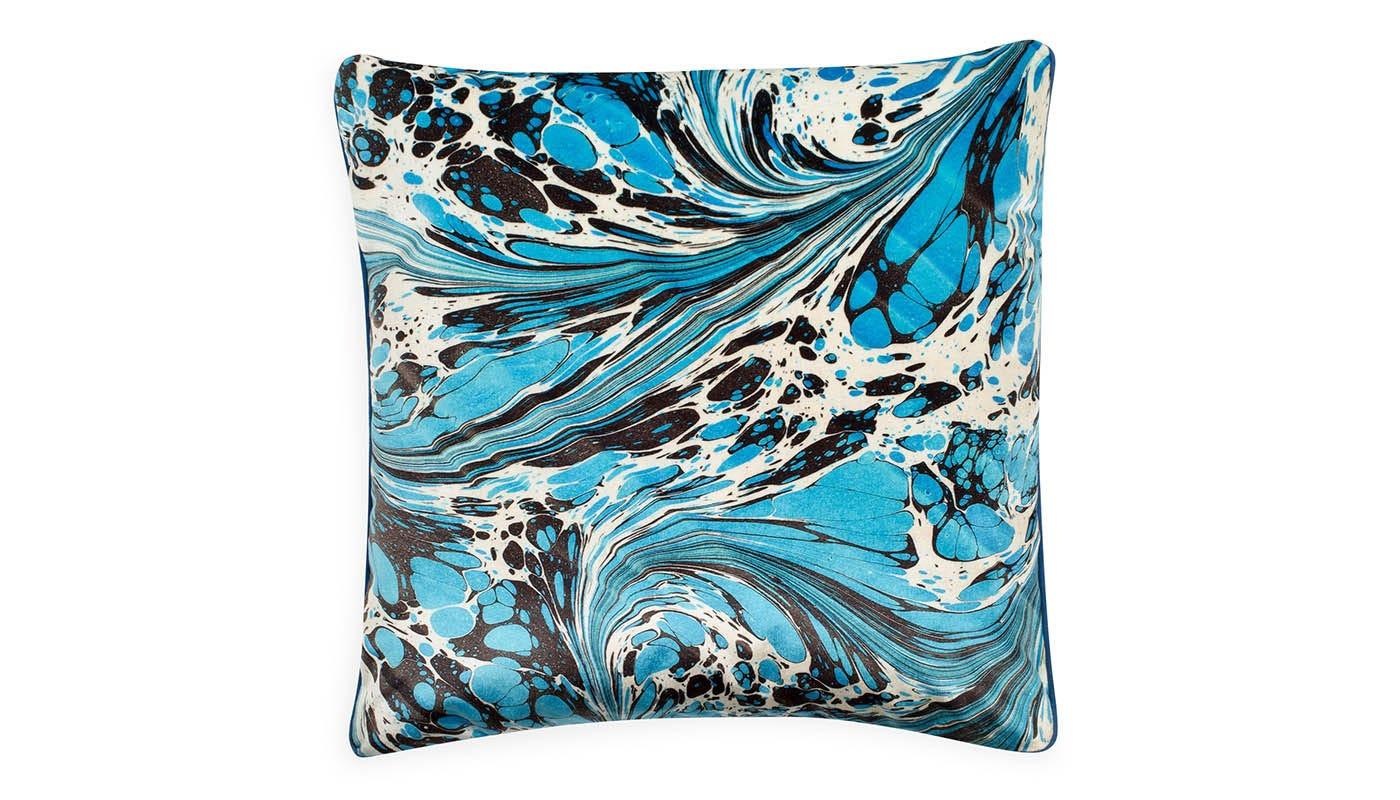 Marble Velvet Cushion Blue