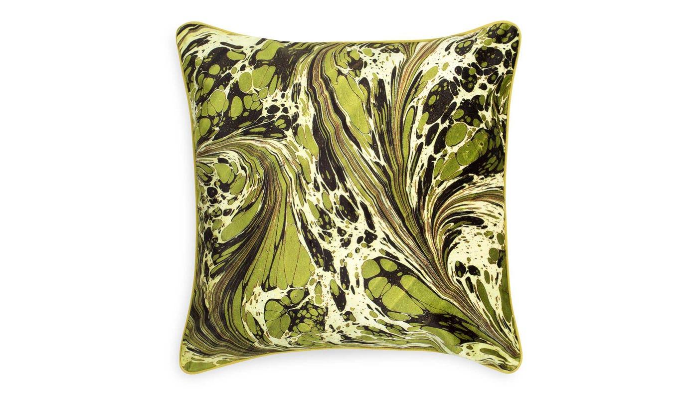 Marble Velvet Cushion Green