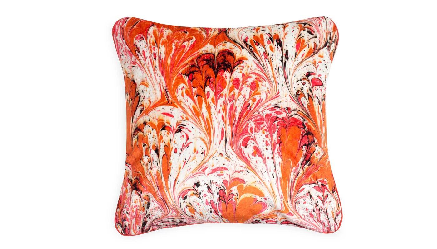 Marble Velvet Cushion Orange