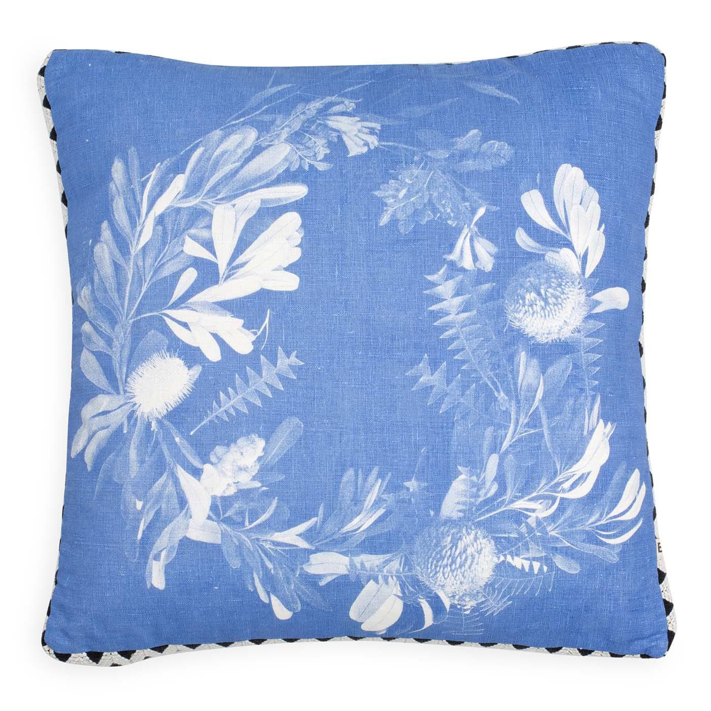 Banksia Wreath Cushion Blue