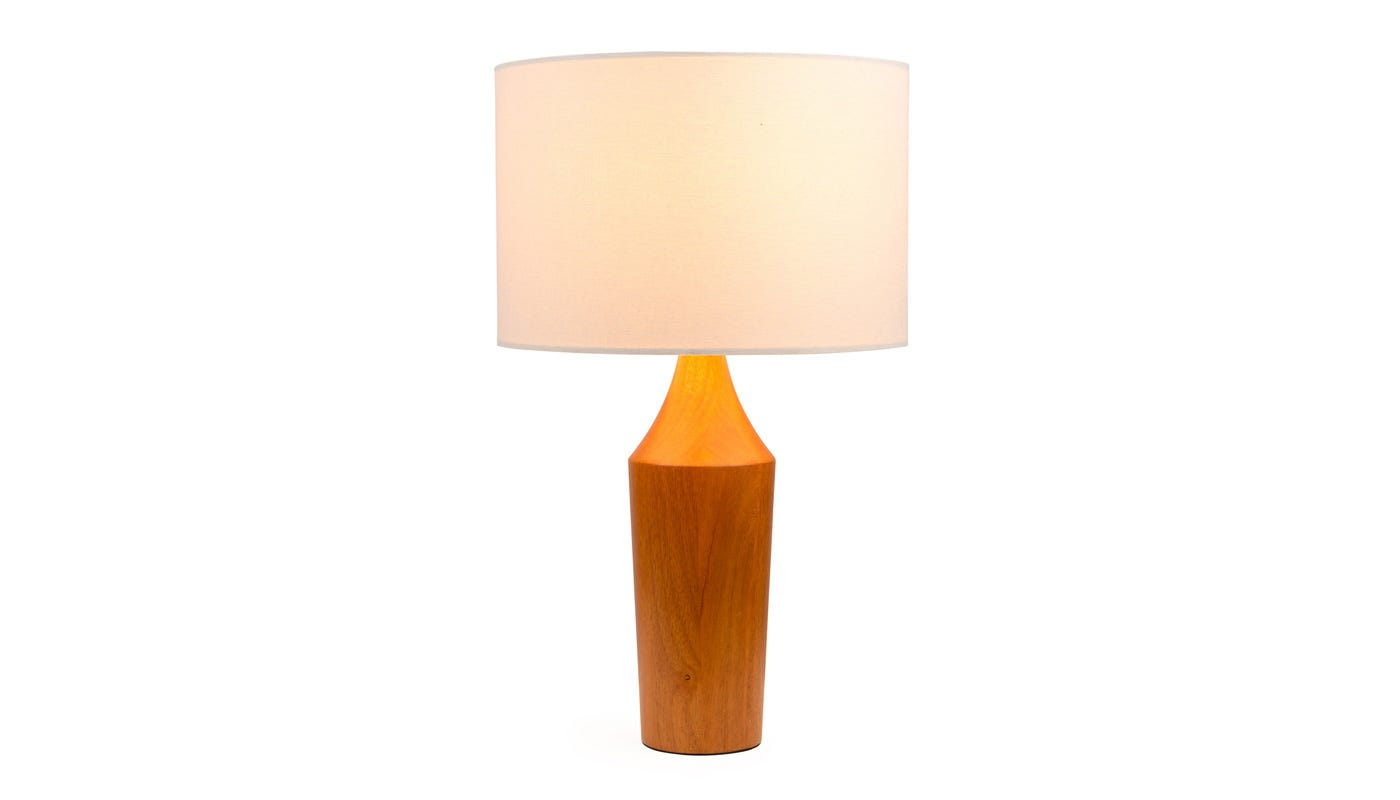 Bertie Lamp with Lucerne Shell Shade (on)