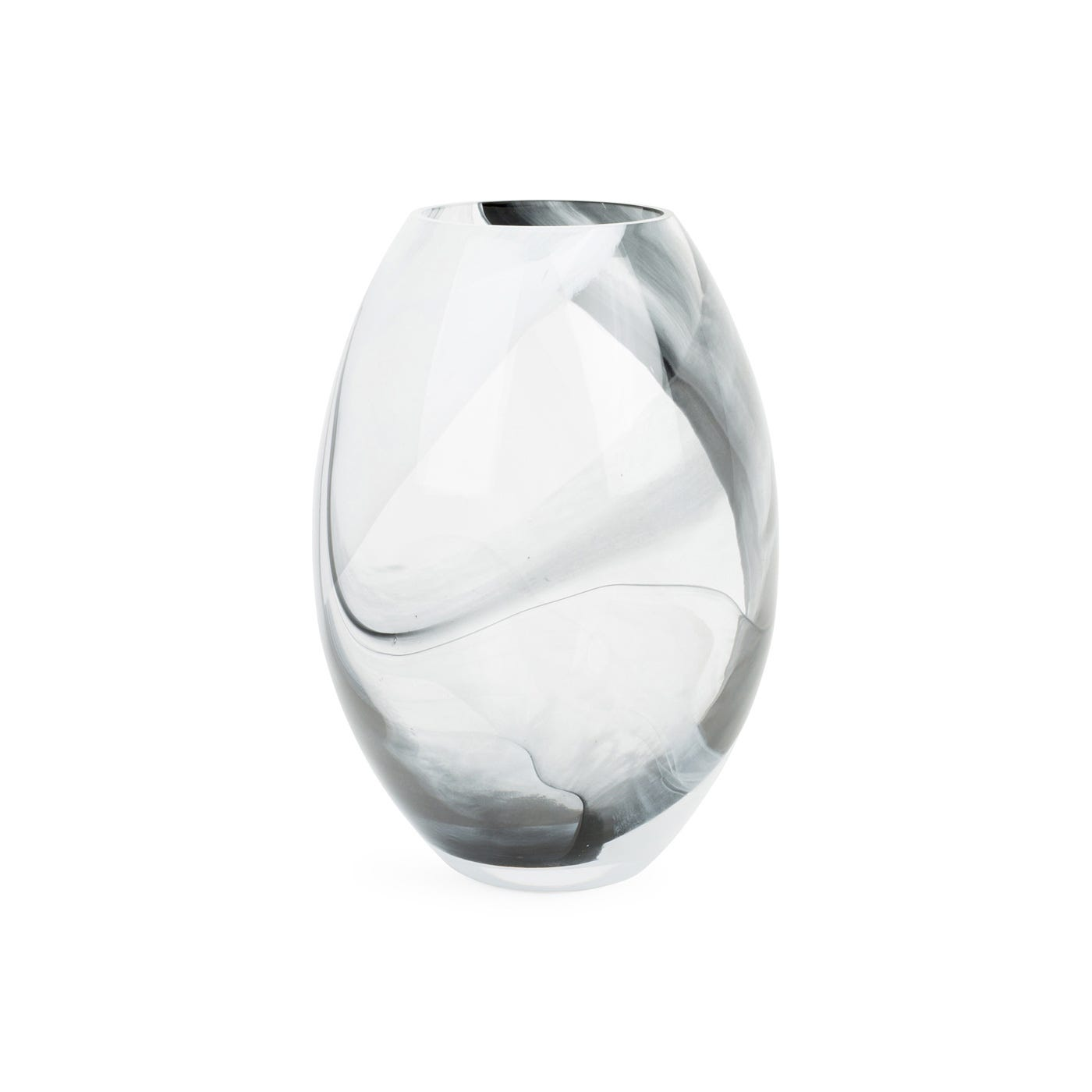 Glass Oval Vase Black & White Marble Small