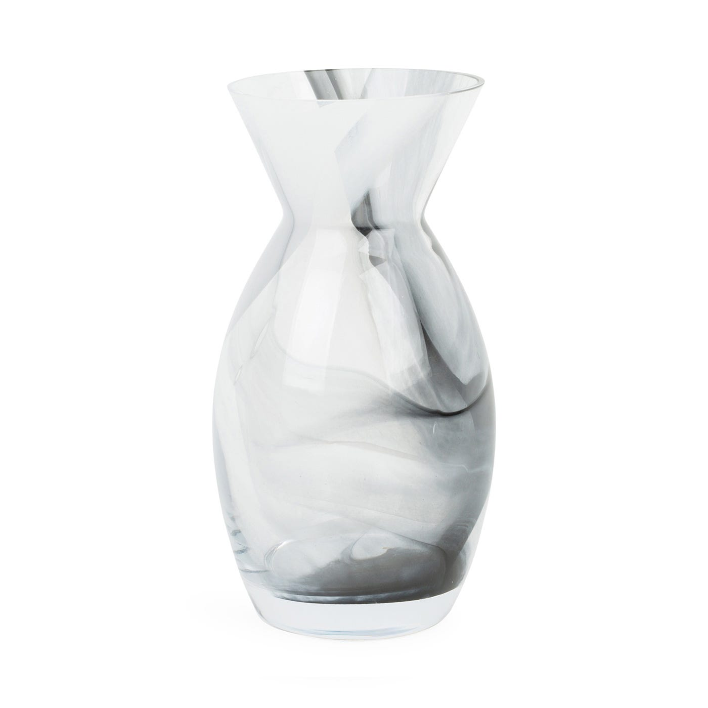 Glass Rose Vase Black & White Marble