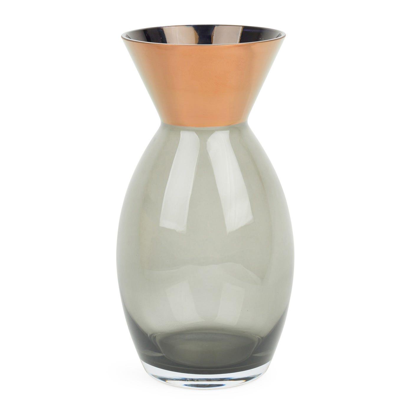 Glass Rose Vase Copper & Smoke