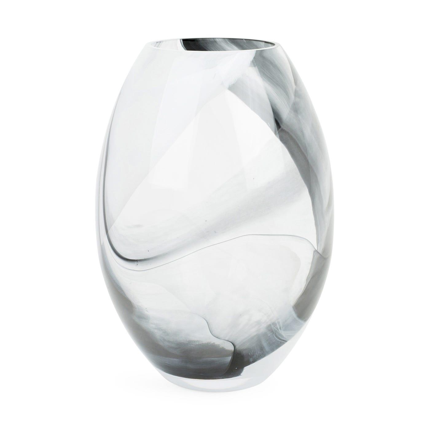 Glass Oval Vase Black & White Marble Large