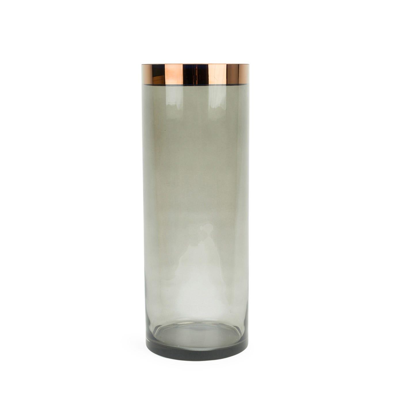 Glass Column Vase Copper & Smoke Large