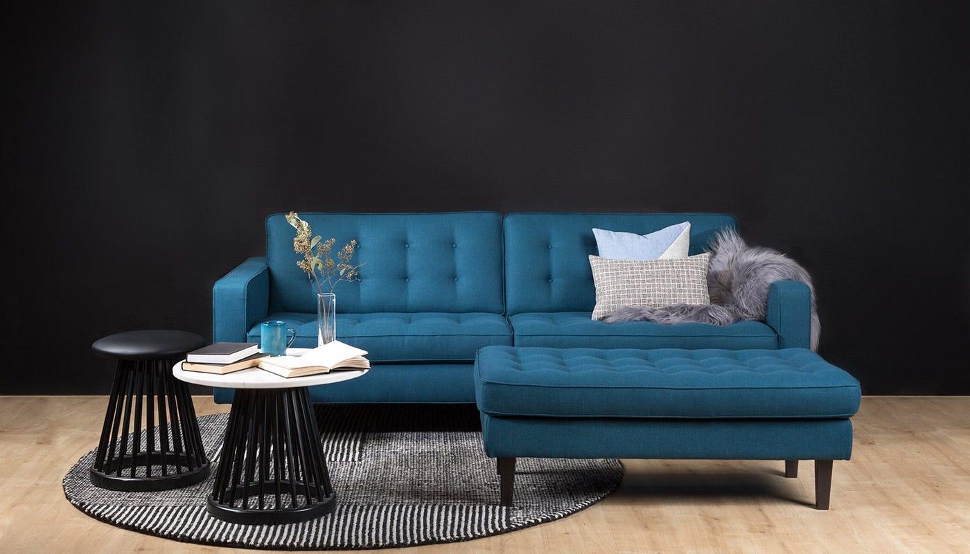 Hepburn 4 Seater Sofa and Ottoman in St Moritz Wool with Walnut Feet