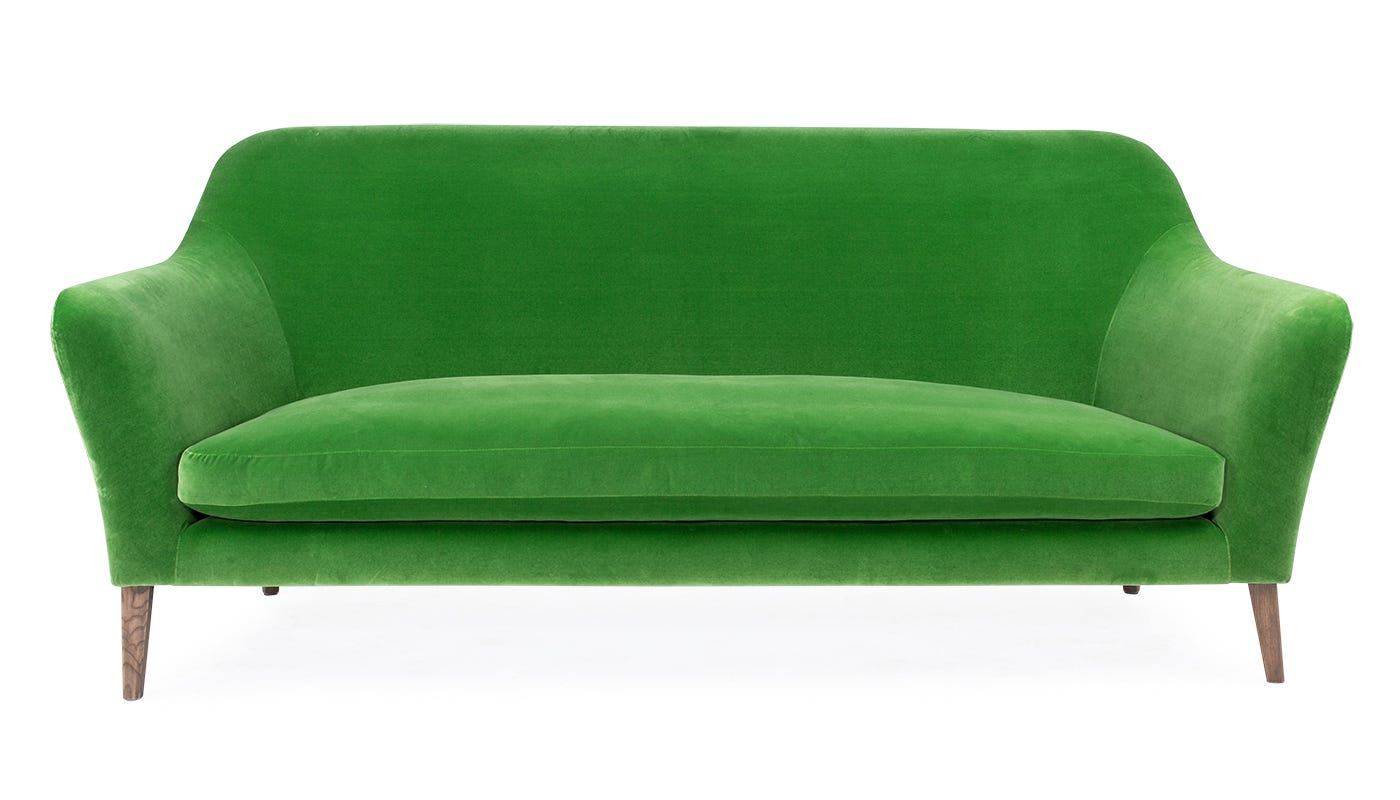 in Varese Velvet Emerald with Walnut Stained Ash Feet