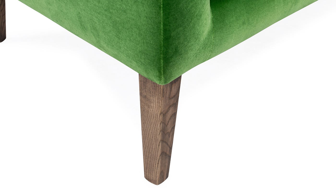 in Varese Velvet Emerald - Detachable ash feet stained with walnut