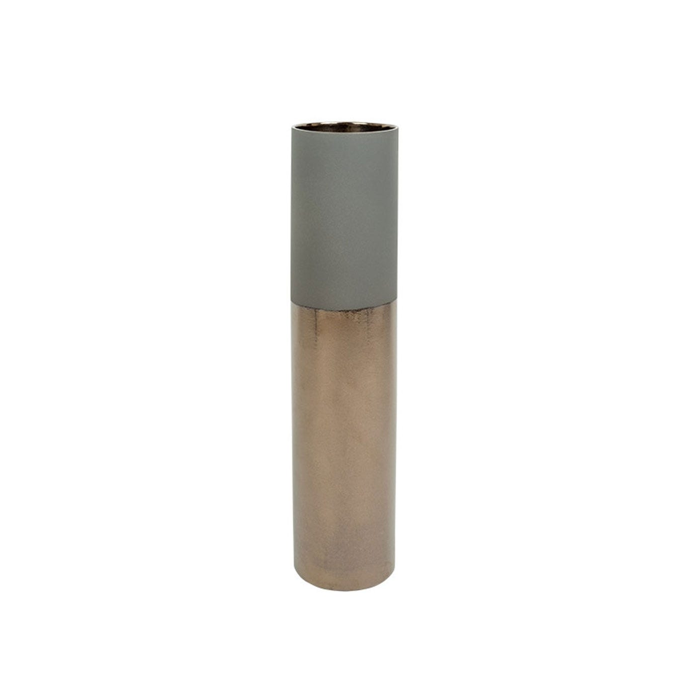 Dual Tone Vase Medium Grey & Metallic
