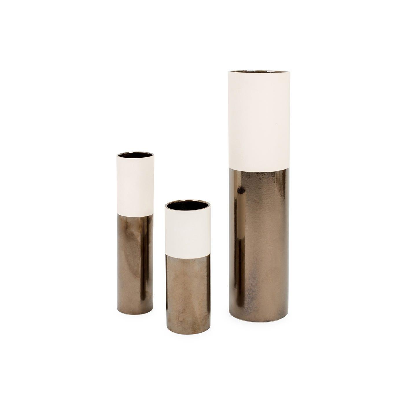 Dual Tone Vase Cream & Metallic