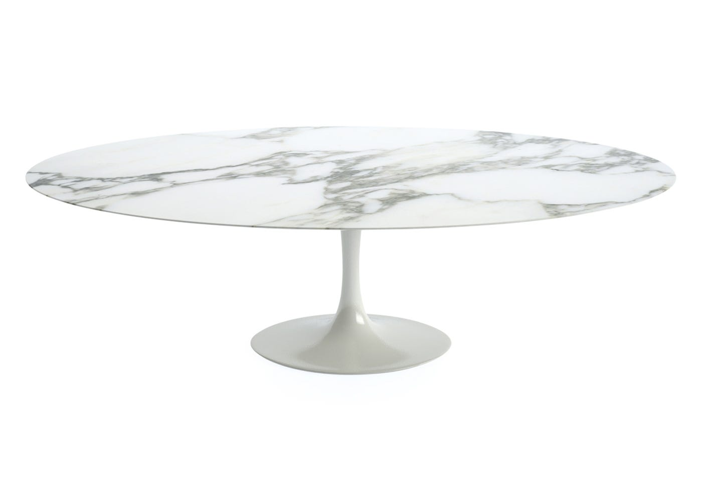 Saarinen Oval Dining Table Extra Large With Calacatta Coated Marble Top
