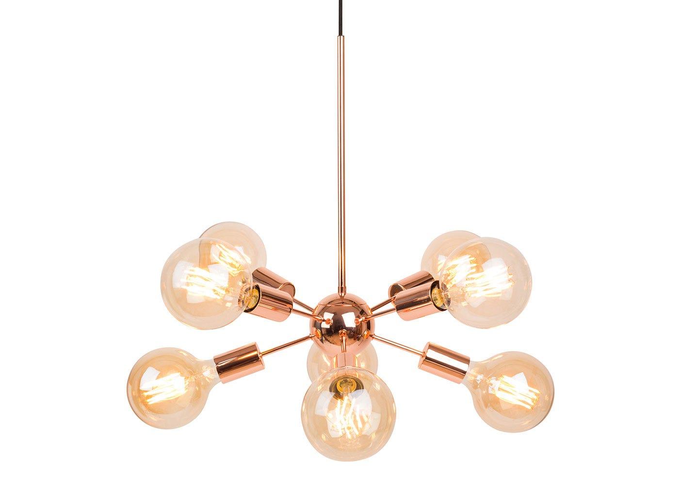 As shown: Copper Mega Junction 8 light with Elva Bulbs.