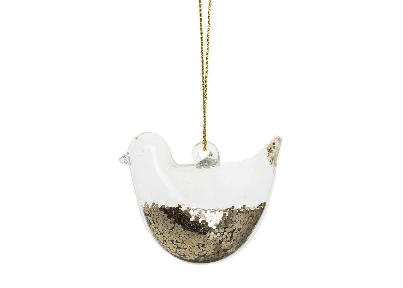 Robin Decoration Gold Glitter Clear H:5cm