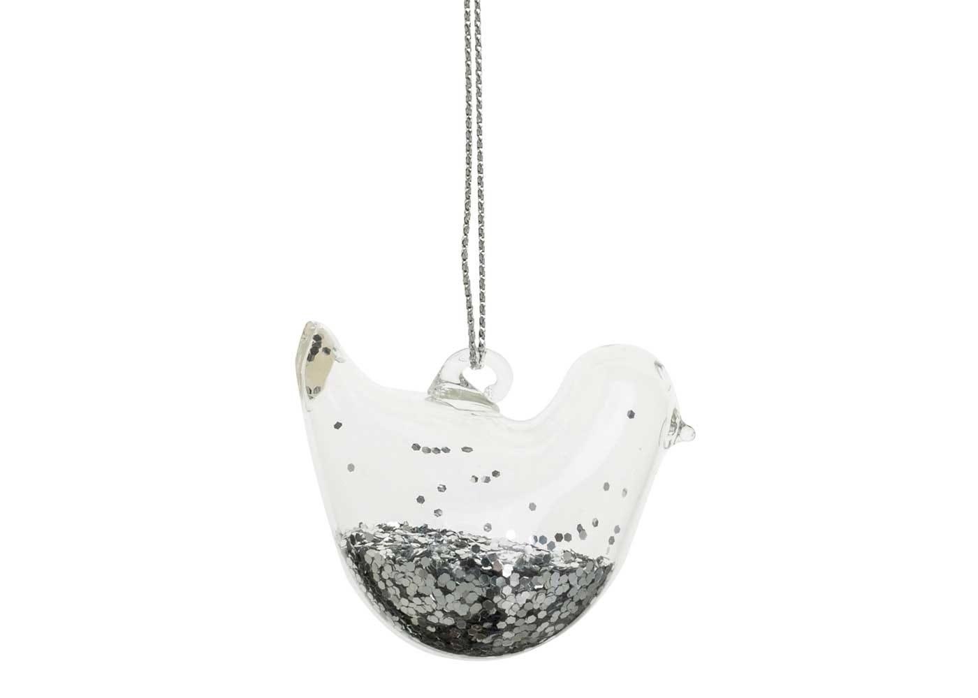 Robin Decoration Silver Glitter Clear H:5cm