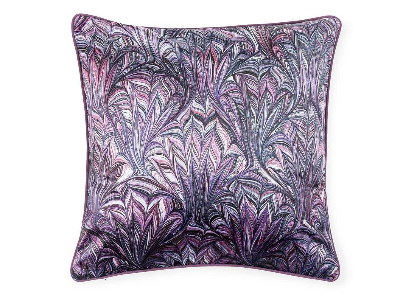 Marble Velvet Cushion Purple