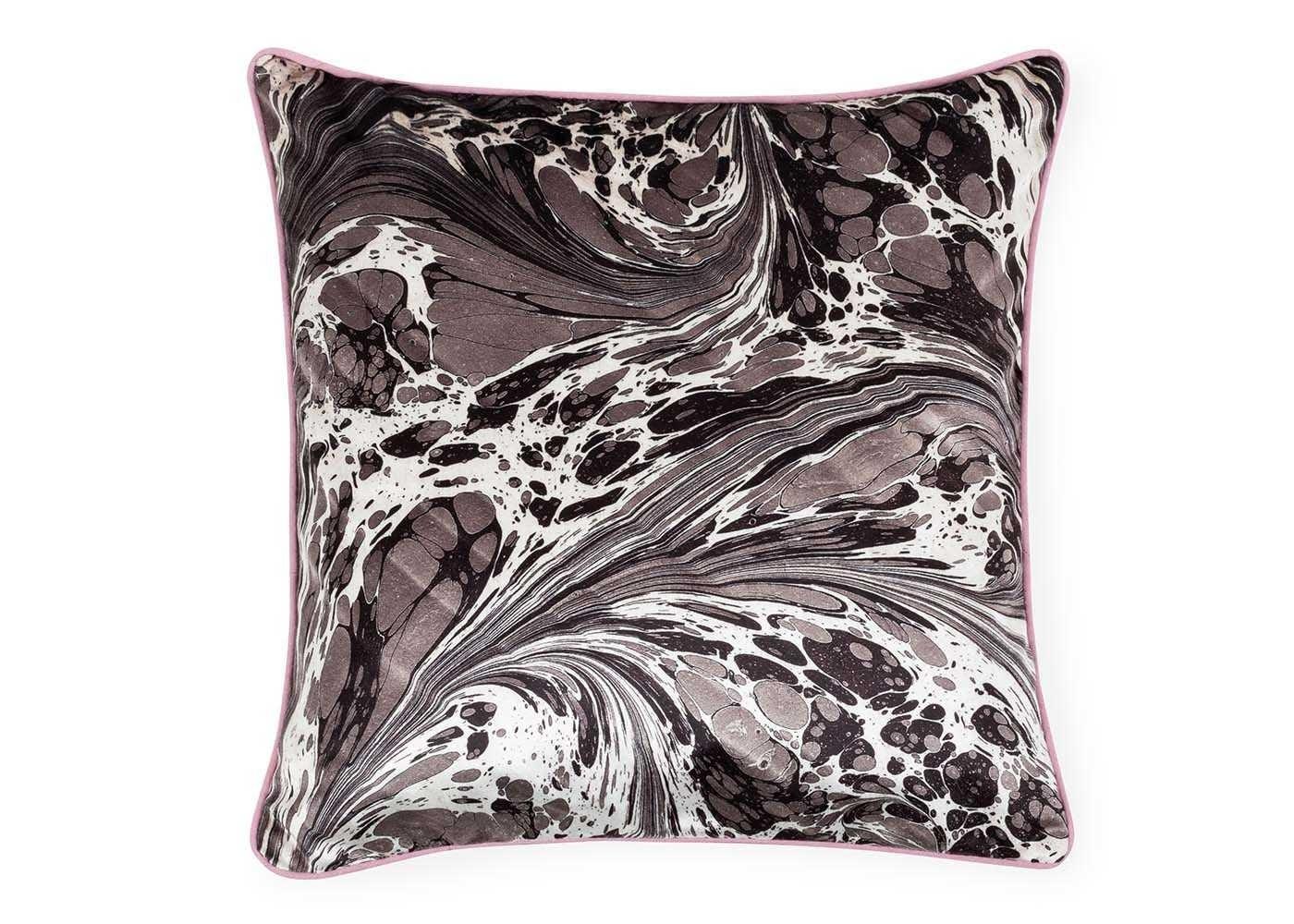 Marble Velvet Cushion Dark Grey
