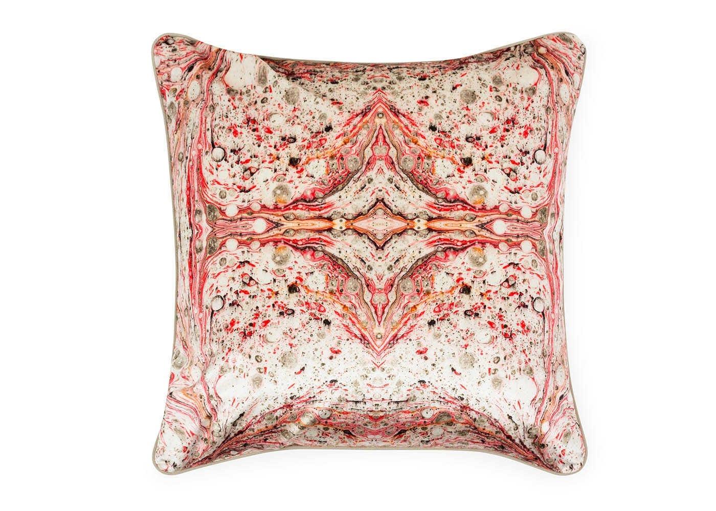 Marble Velvet Cushion White