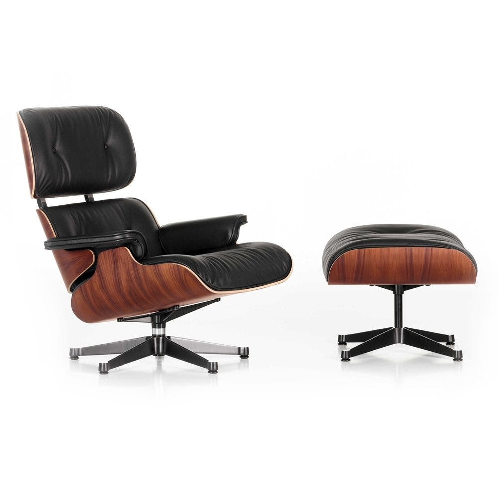 Eames Lounge Chair & Ottoman Classic Dims Santos Palisander Polished with Black L.Premium Nero