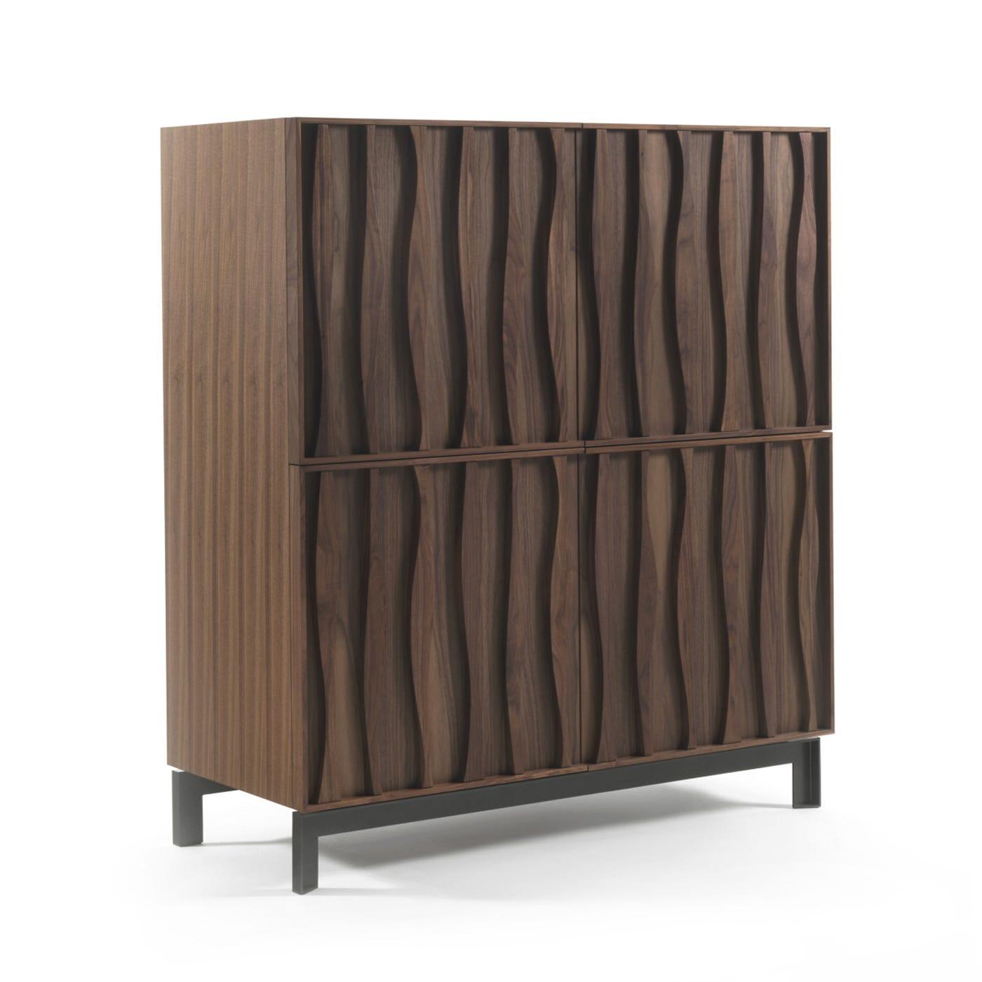 Masai 4 Door Cabinet Caneletta Walnut Metal Base