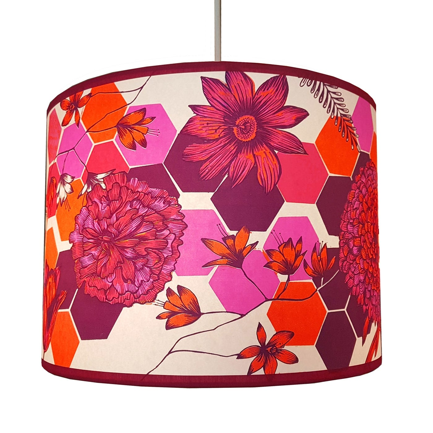 Lampshade Pink Flowers Large