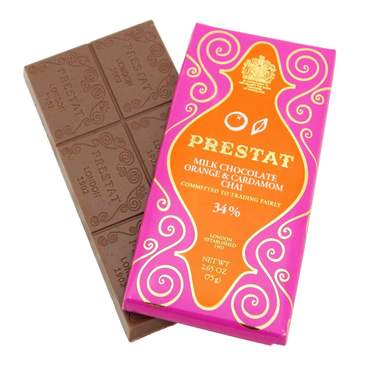 Prestat Milk Chocolate Orange & Cardamom Chai Bar 75g